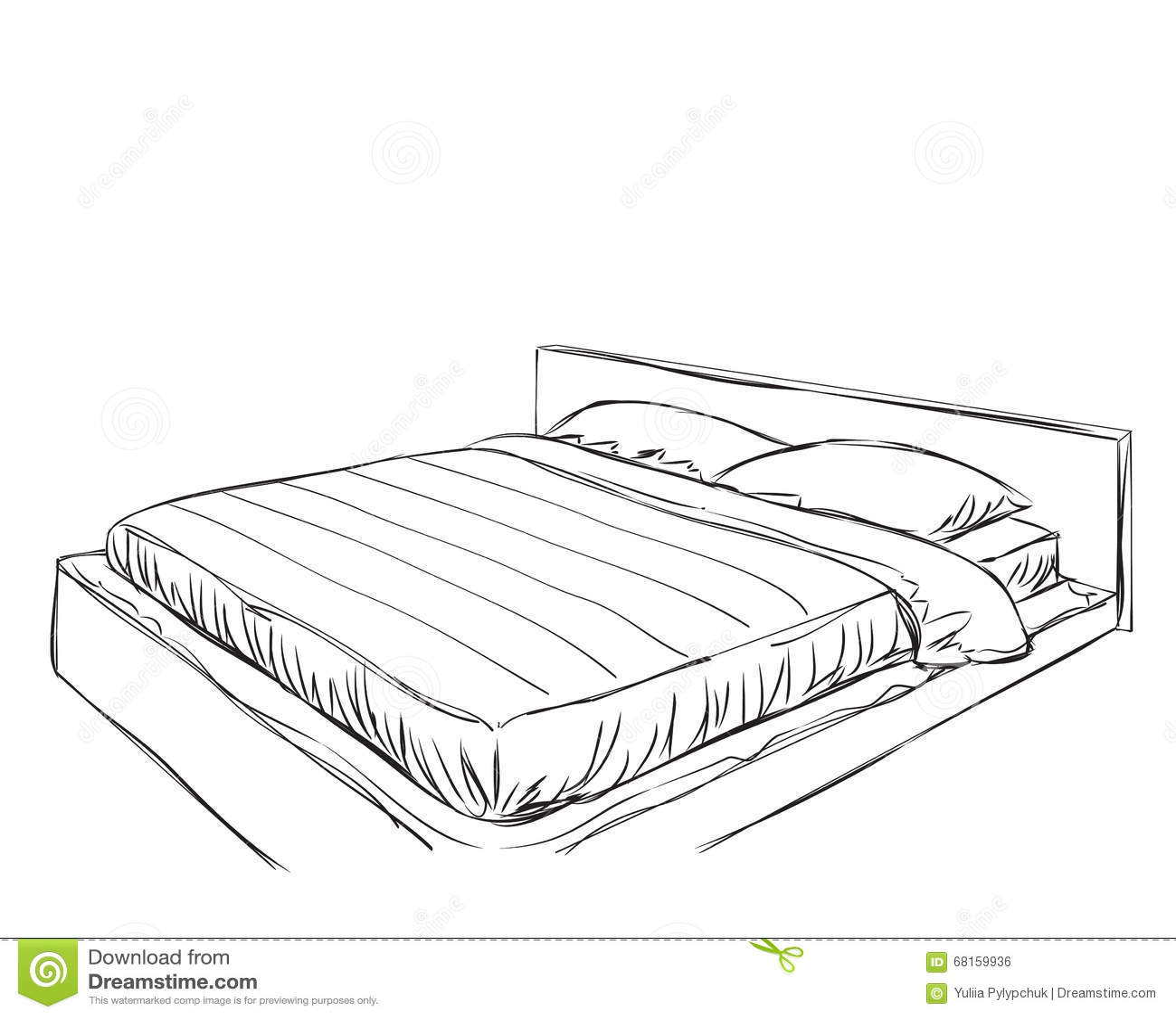 Bedroom Modern Interior Vector Drawing Sketch Cartoon