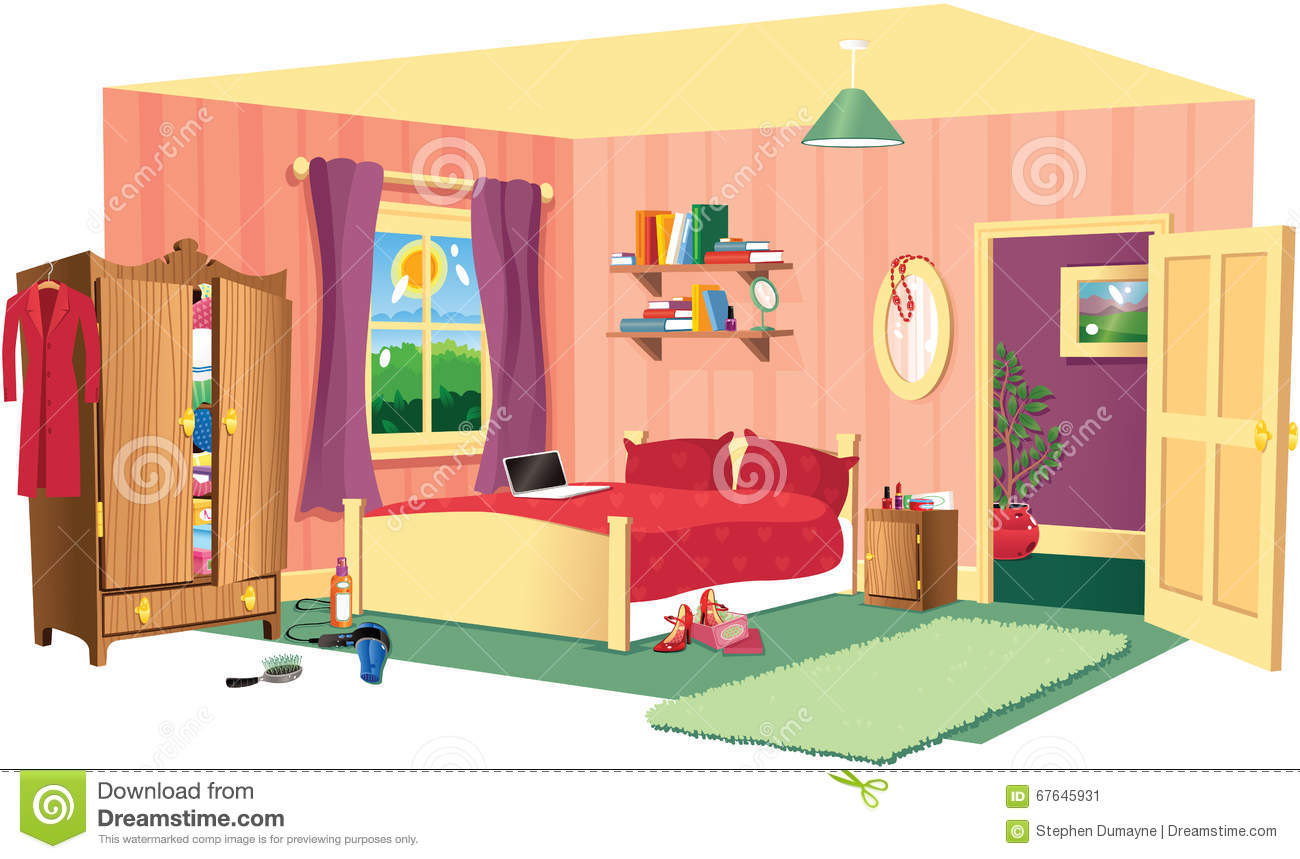 Bedroom Scene Stock Vector Illustration Of Cosy Girls