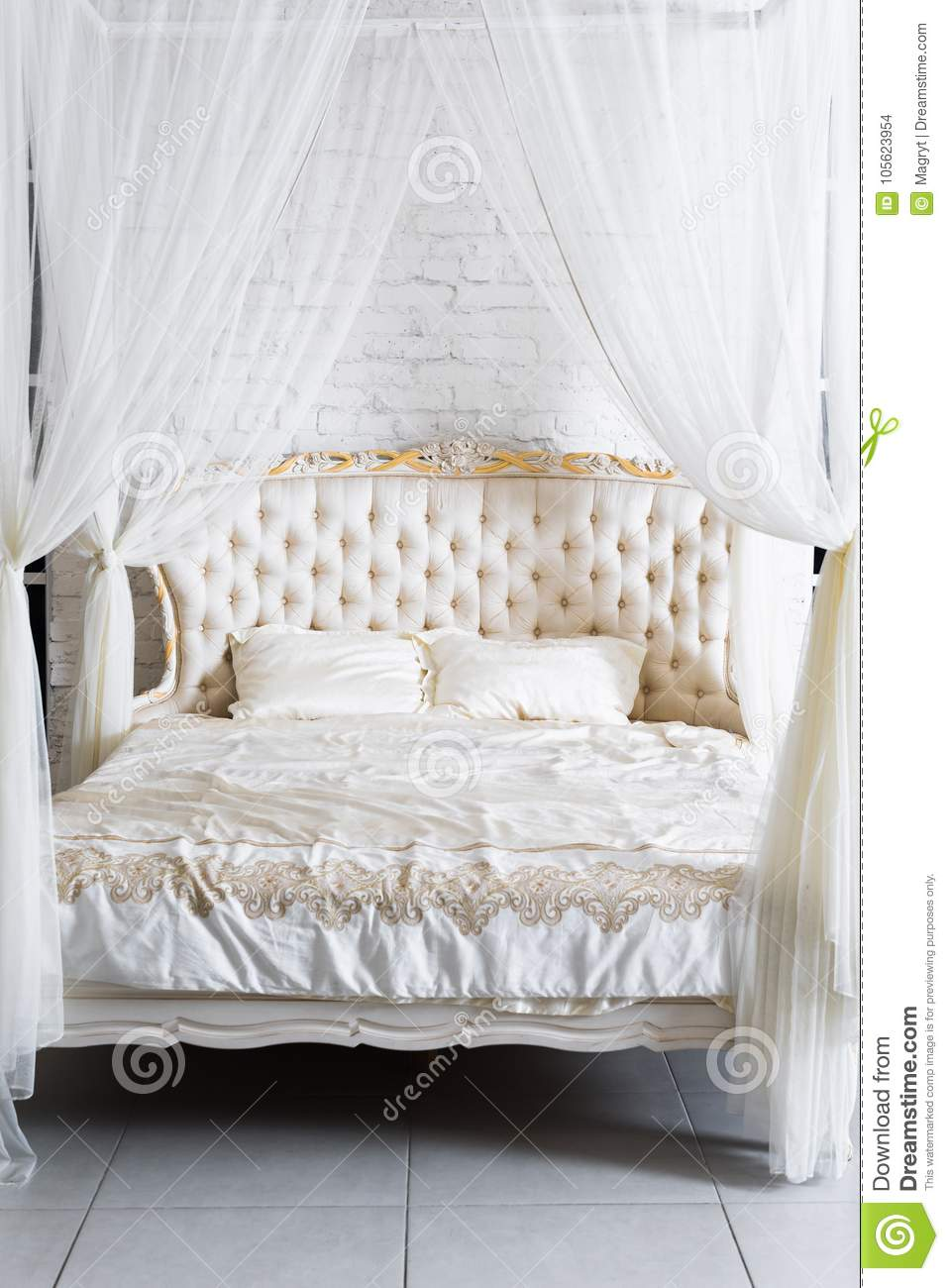 https www dreamstime com bedroom soft light colors big comfortable four poster double bed elegant classic bedroom luxury white gold interior image105623954