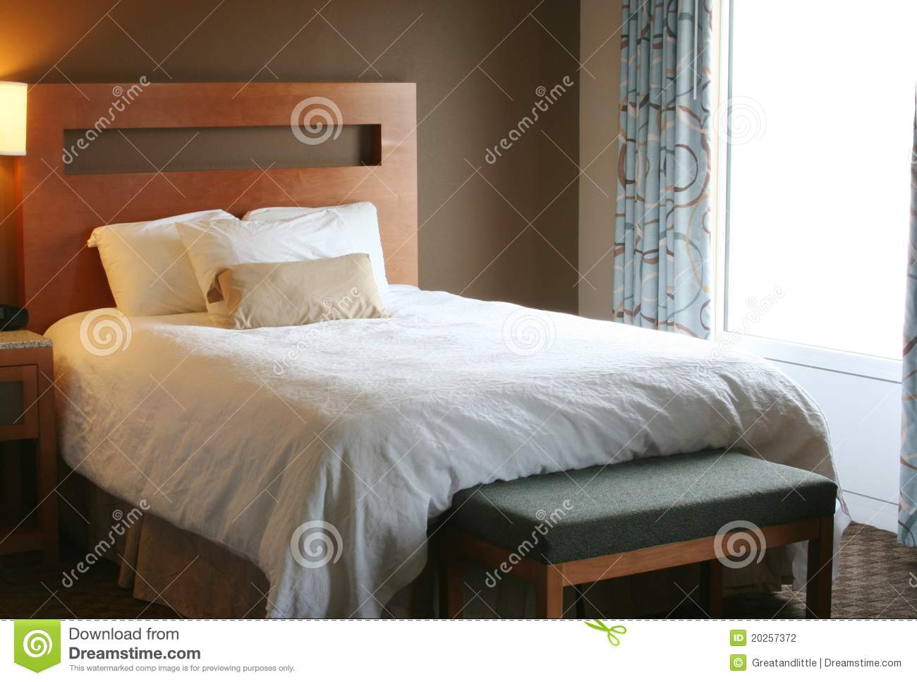 Bedroom With White Blanket On Bed Stock Photography