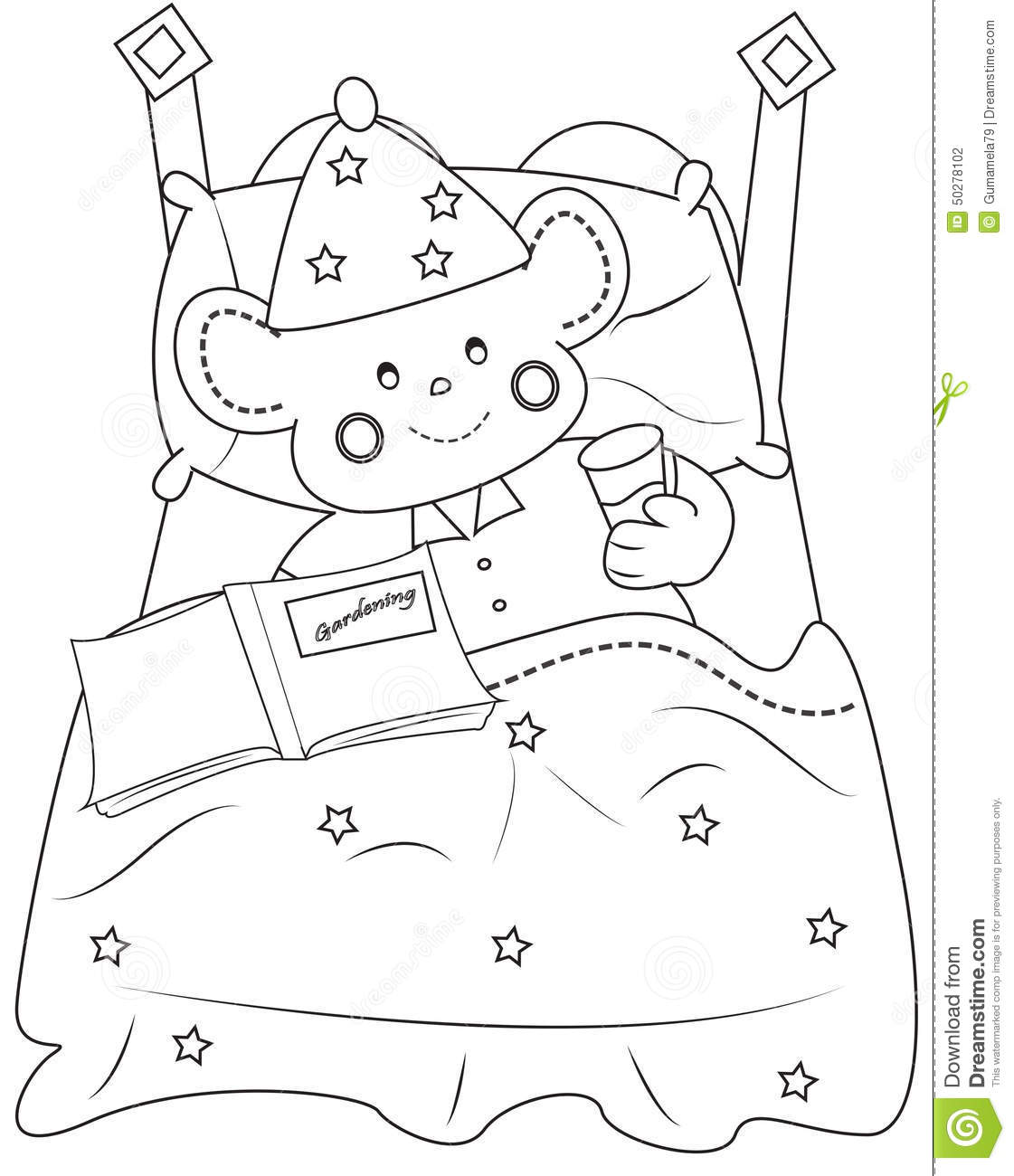 Bedtime Coloring Page Stock Illustration Image Of
