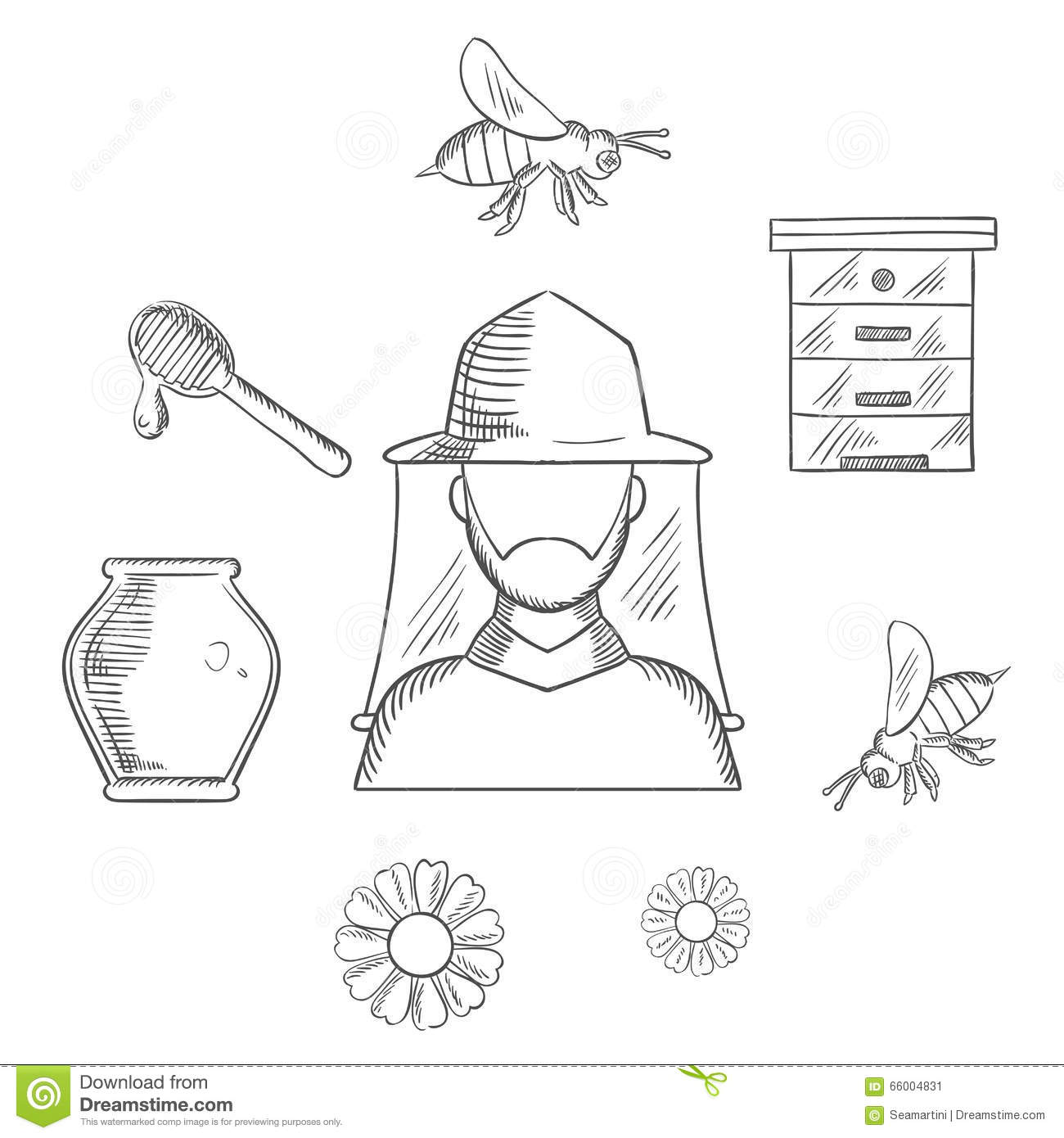 Beekeeping And Apiary Sketch Icons Stock Vector