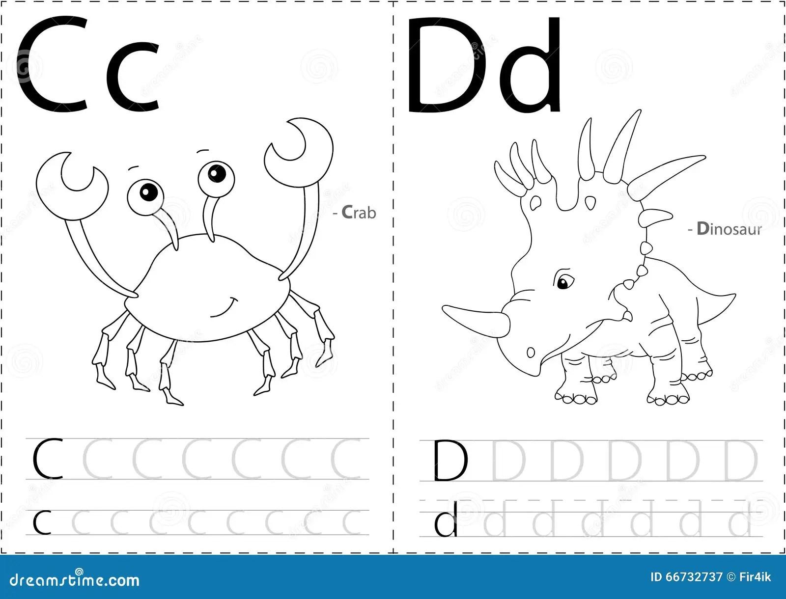 Beeldverhaalkrab En Dinosaurus Alfabet Vindend Aantekenvel