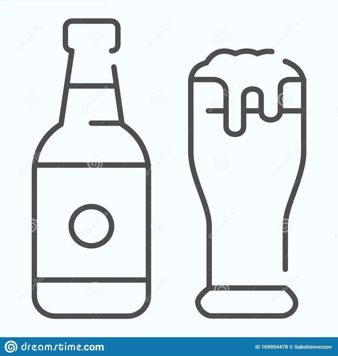 Download Beer Bottle And Glass Thin Line Icon. Bottle And Glass Of ...