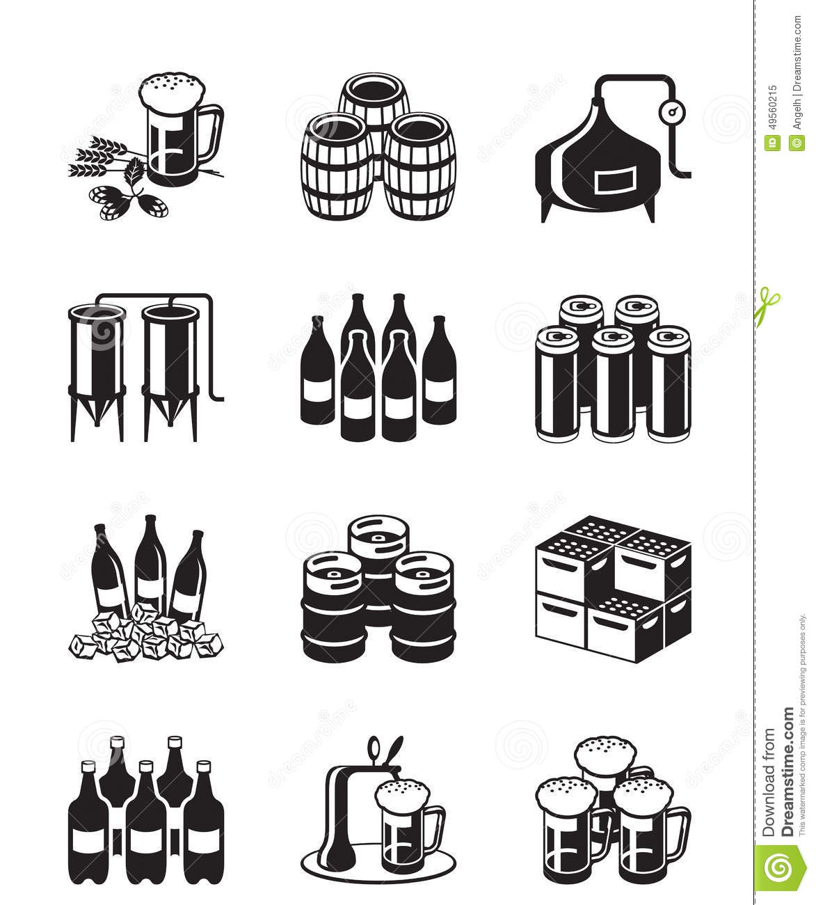 Beer And Brewery Icon Set Stock Vector Illustration Of