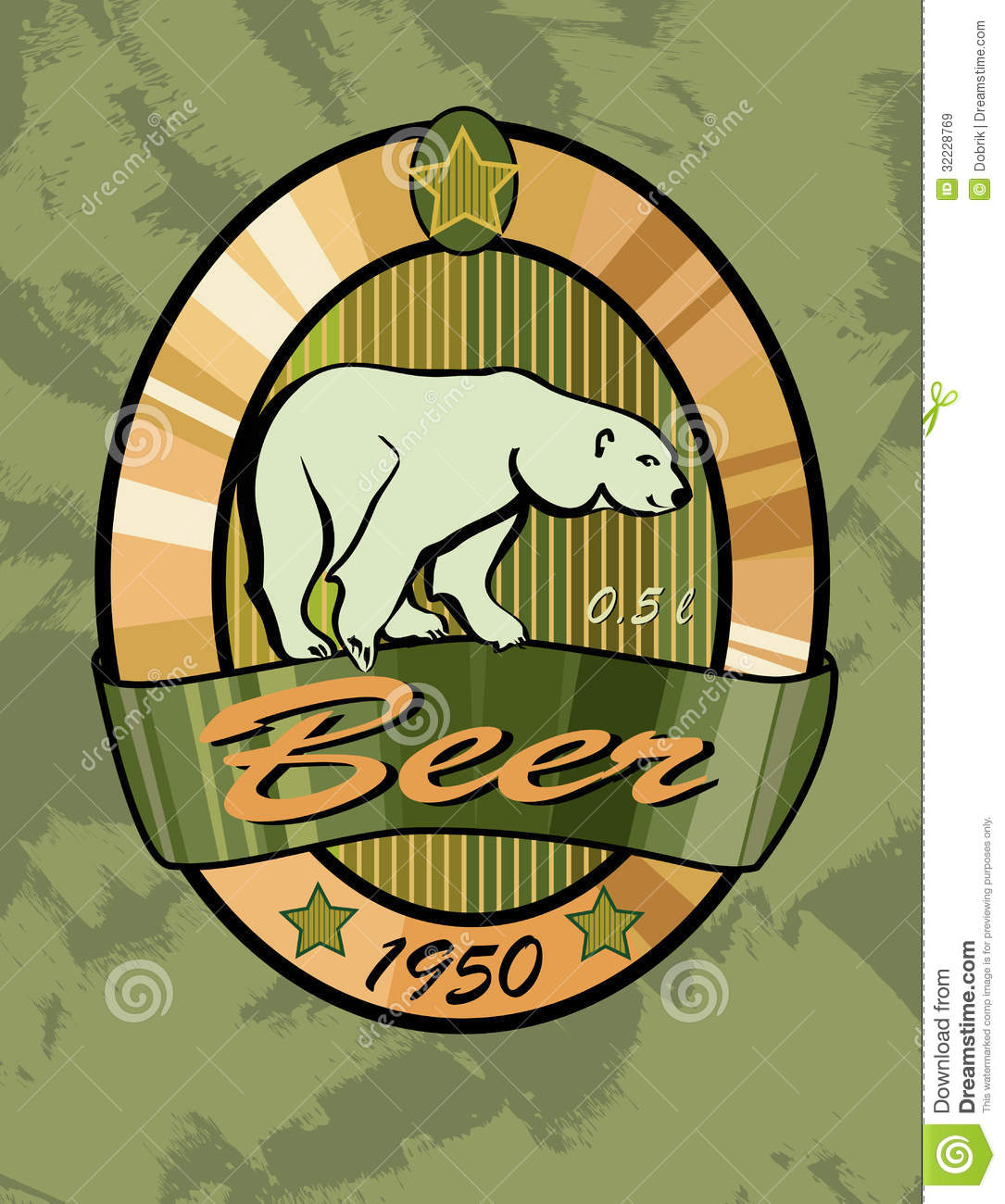 Beer Label Design Polar Bear Stock Vector