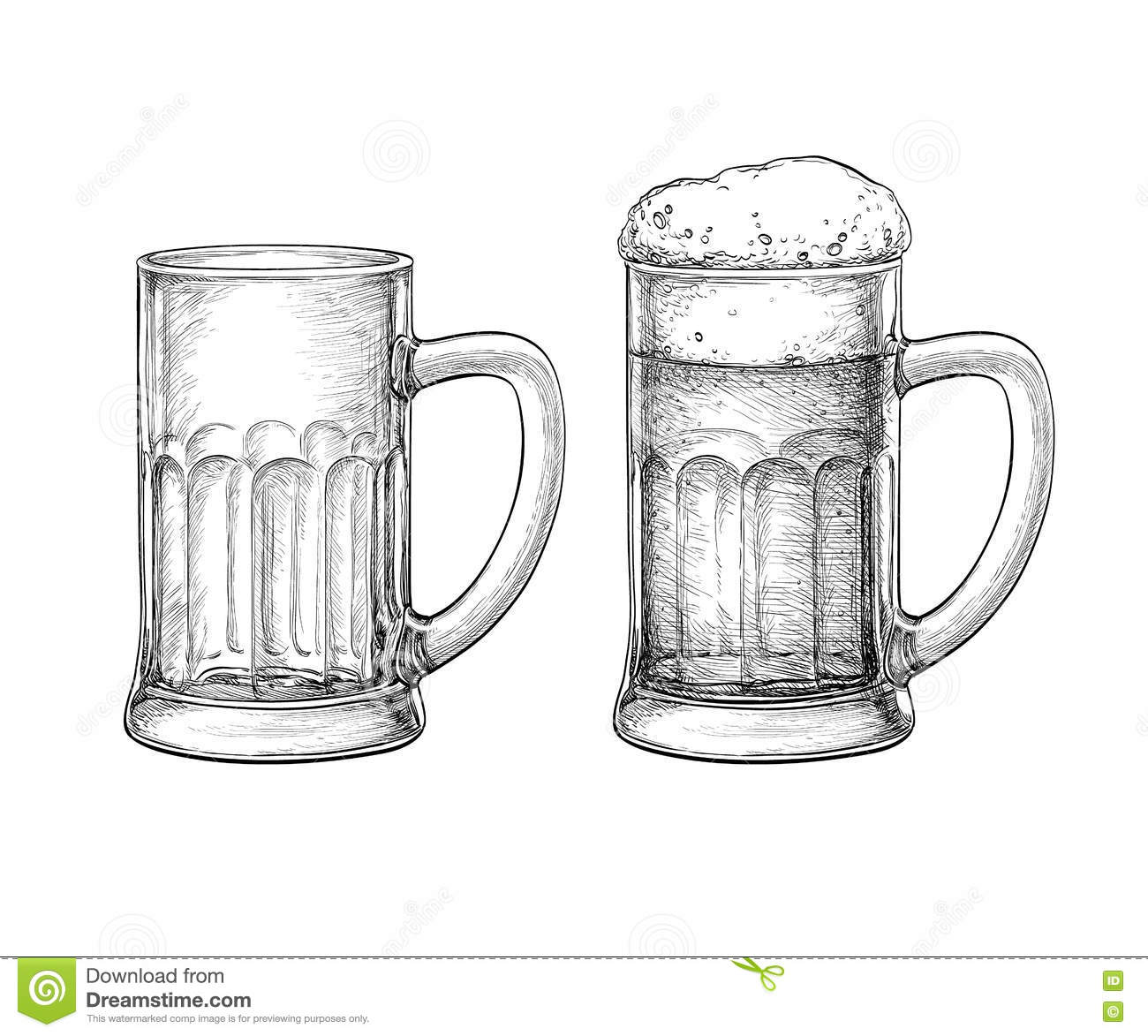 Beer Mugs Isolated Vector Illustration