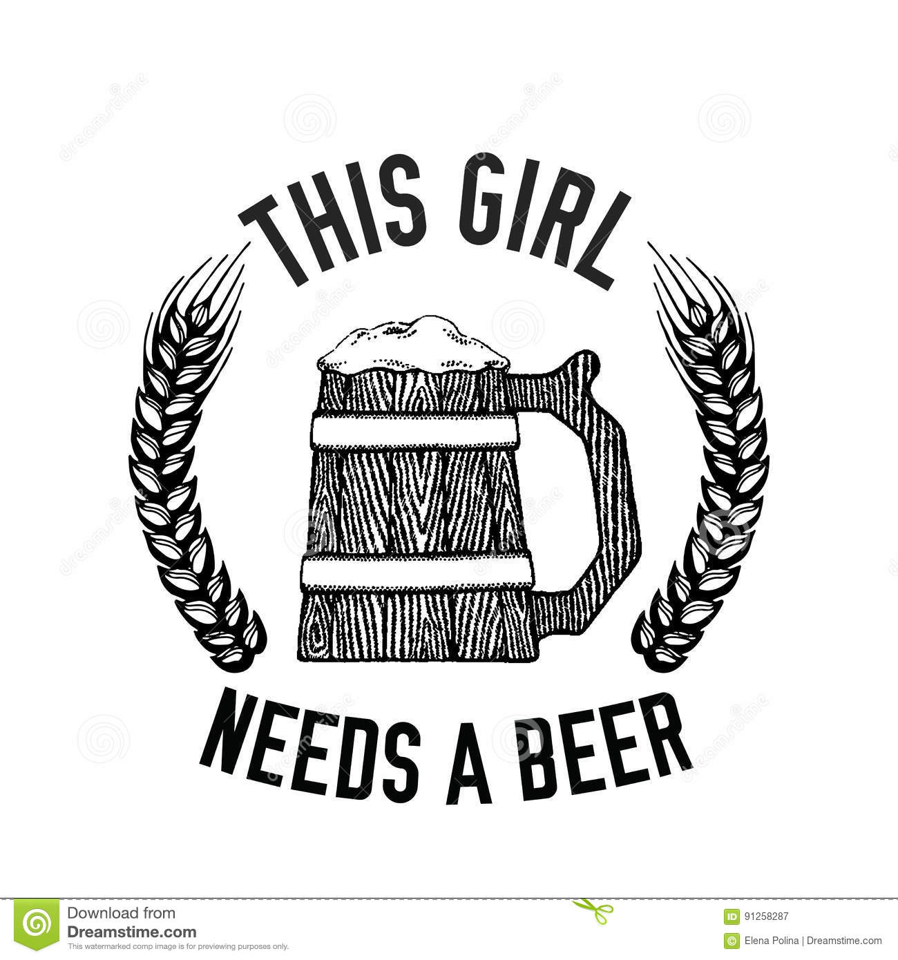Beer Quote Hand Drawn Vector Image With Quote About Beer
