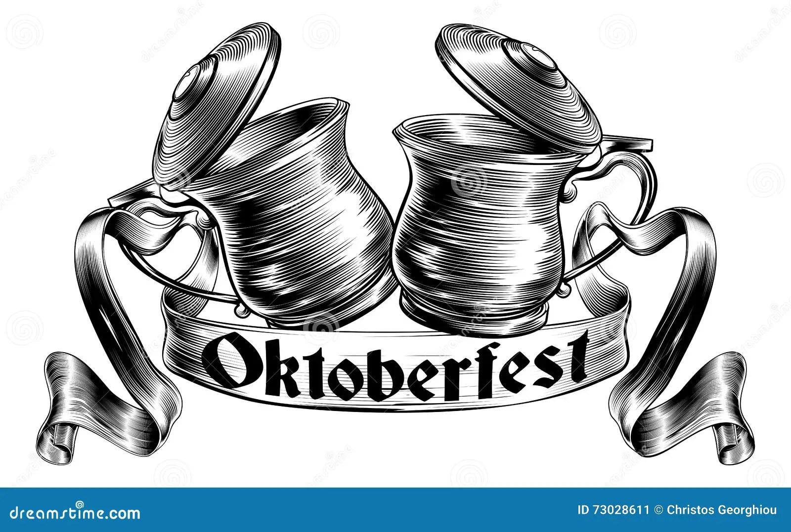 Beer Stein Tankard Toast Oktoberfest Concept Cartoon
