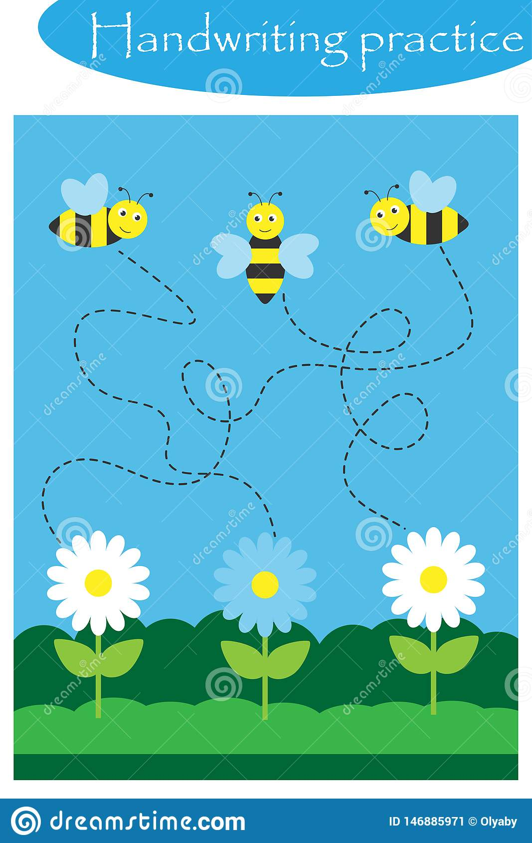 Bees And Flowers Spring Handwriting Practice Sheet Kids