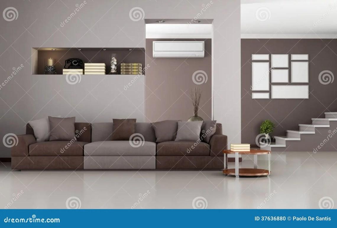 Beige And Brown Modern Living Room Stock Illustration Illustration Of Stair Modern 37636880