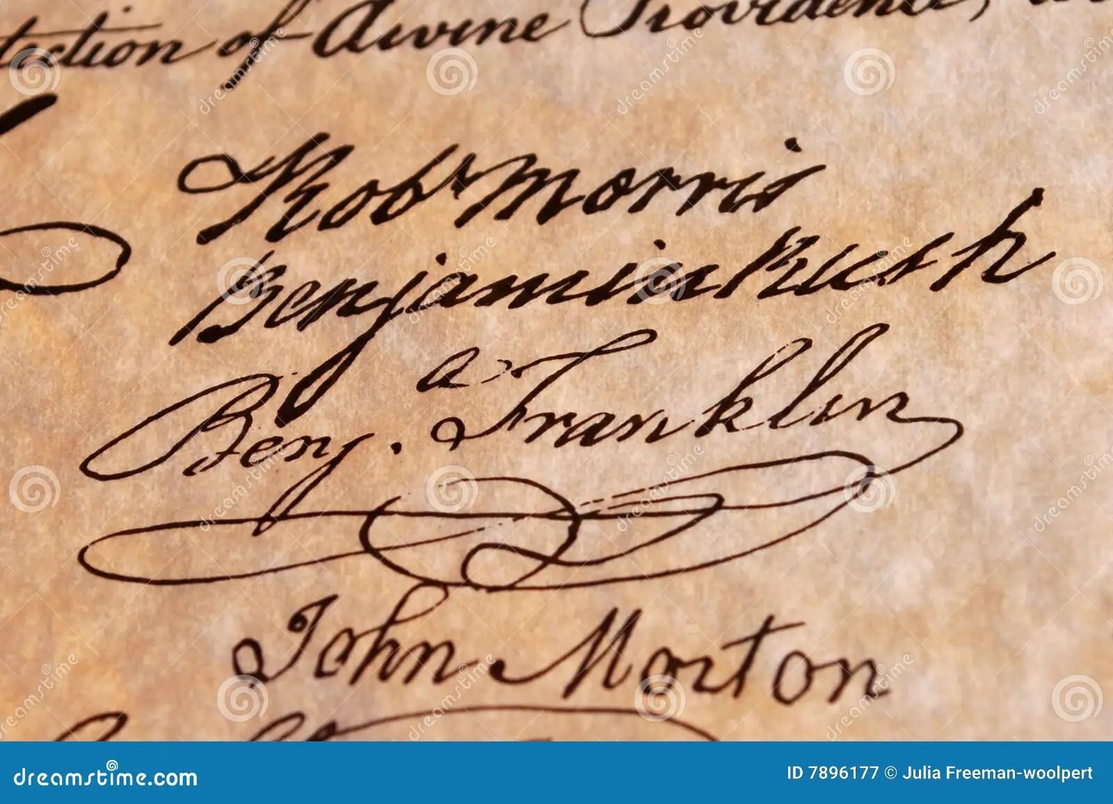 Benjamin Franklin S Signature Stock Image