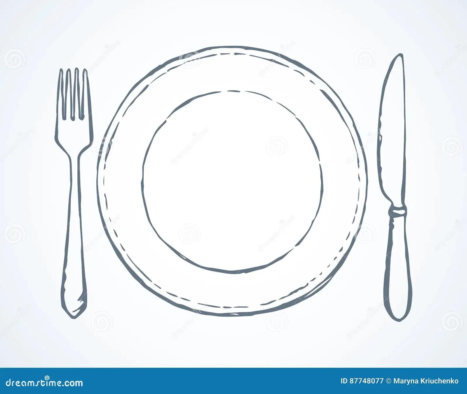 Bestek Vector Tekening Vector Illustratie Illustratie Bestaande Uit Diner