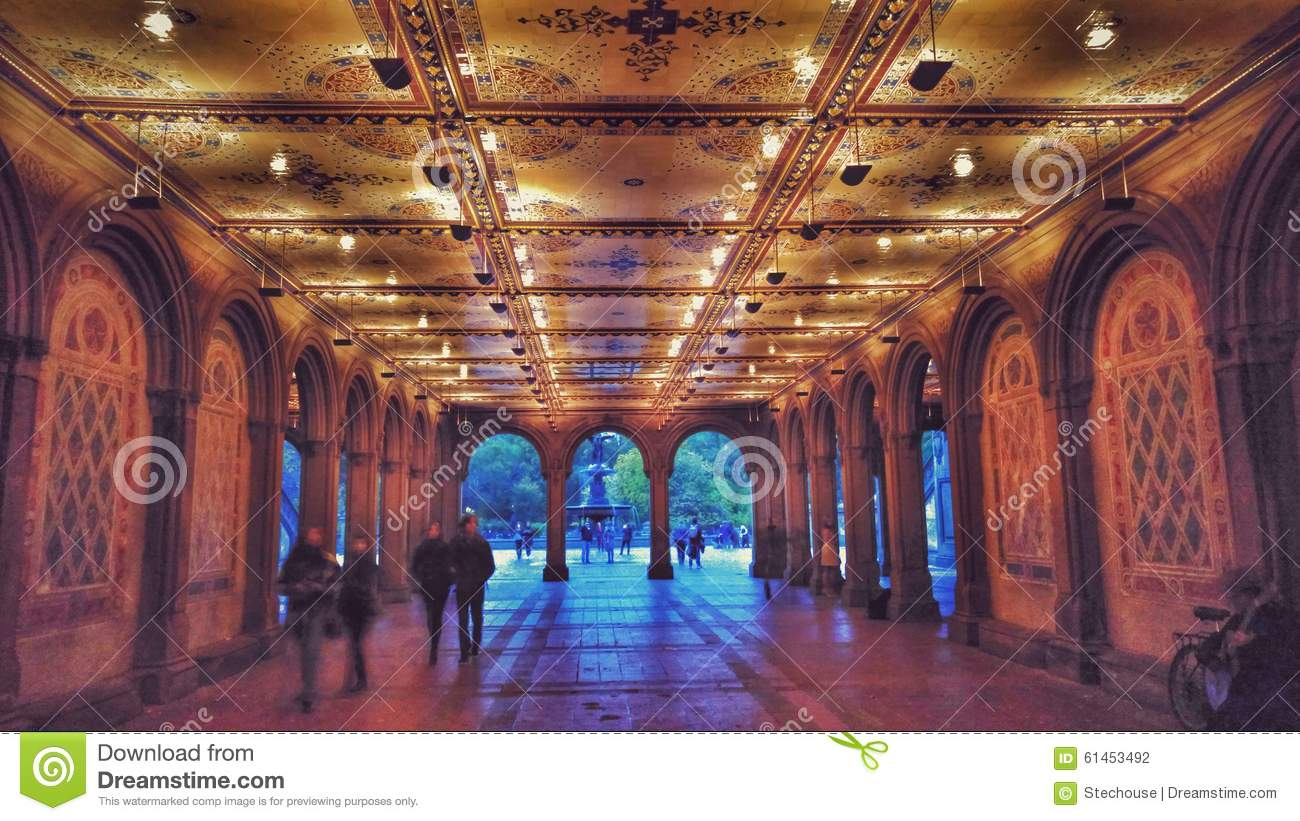 Bethesda Terrace And Fountain In Central Park New York