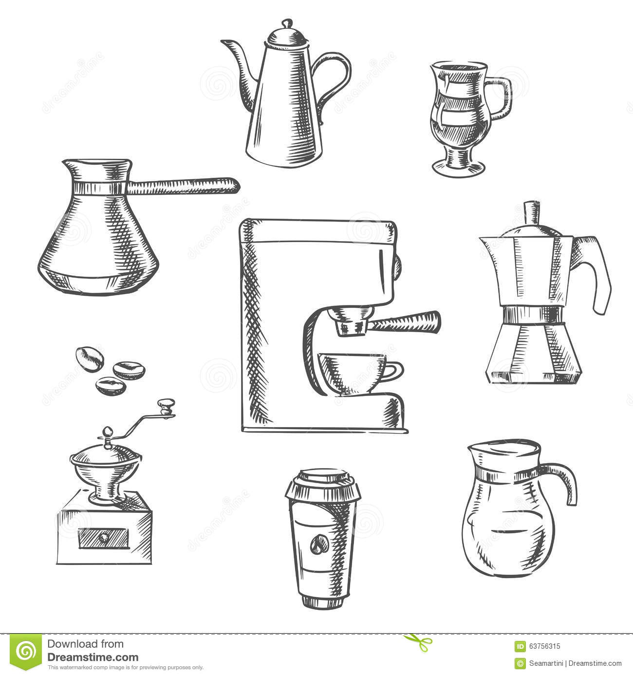 Beverage Sketch Icons Around The Coffee Machine Stock