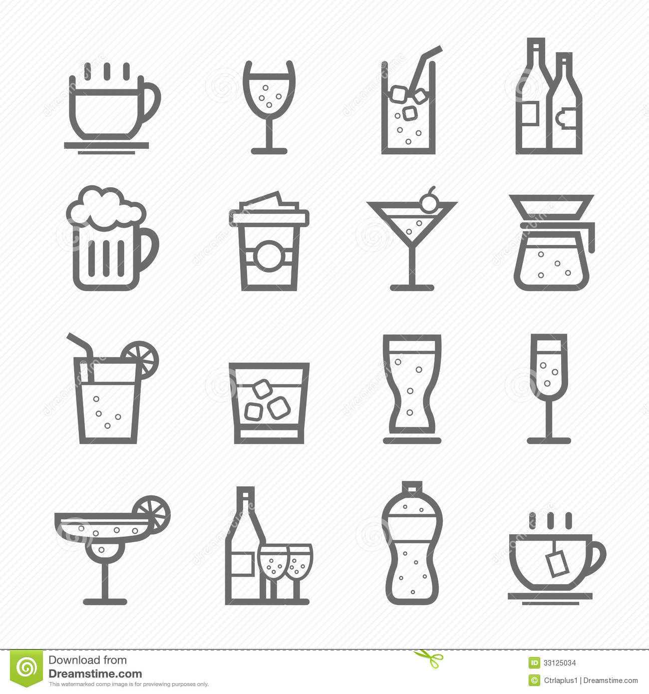 Beverage Symbol Line Icon Set Stock Vector