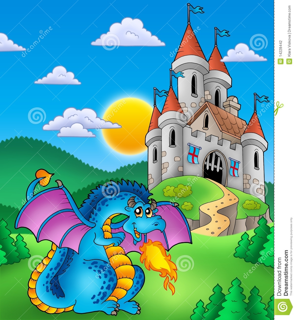 Big Blue Dragon With Me Val Castle Stock Photography