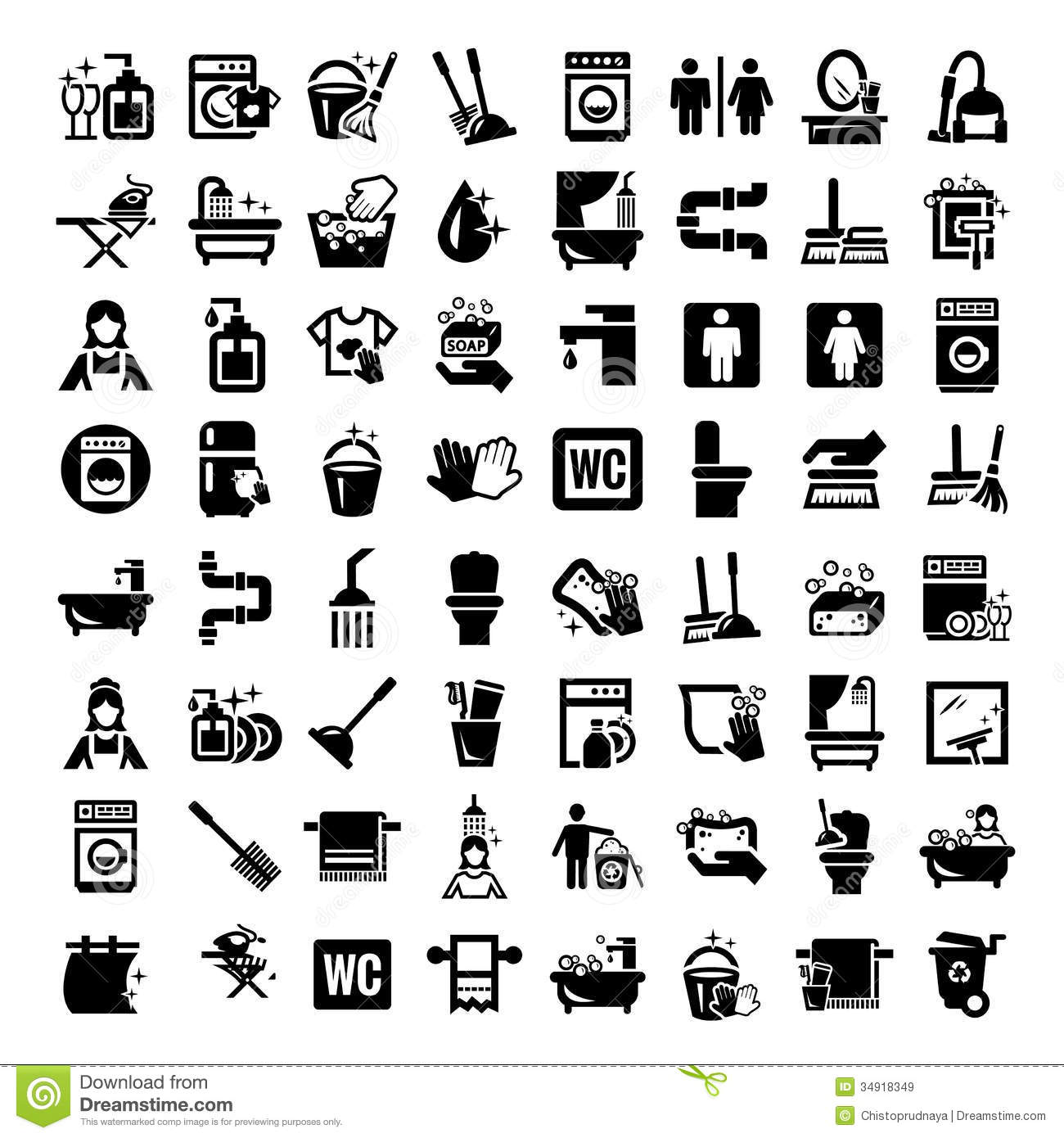 Big Cleaning Icons Set Stock Image Image Of Equipment