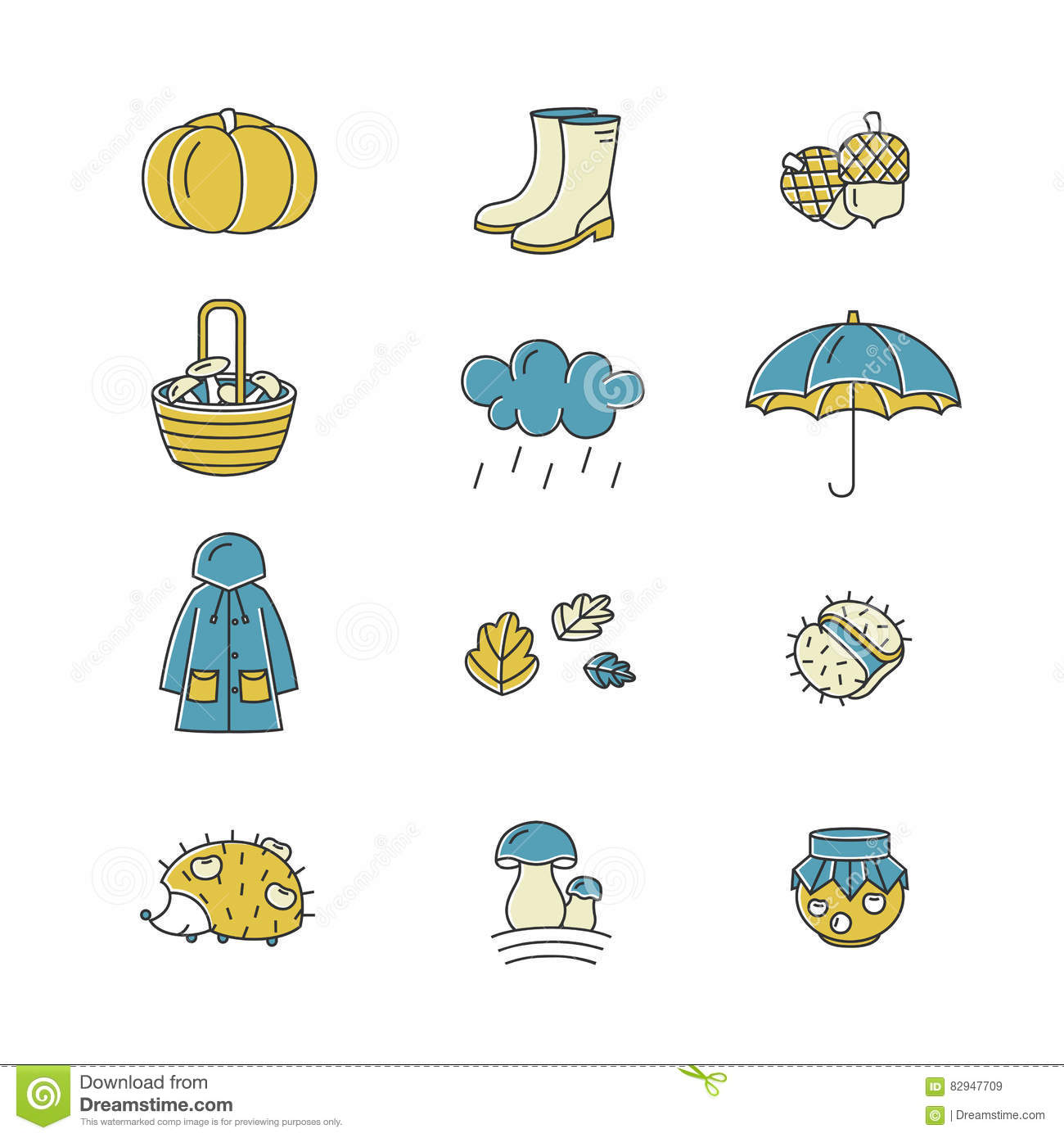 Big Collection Of Linear Icons With Different Autumn