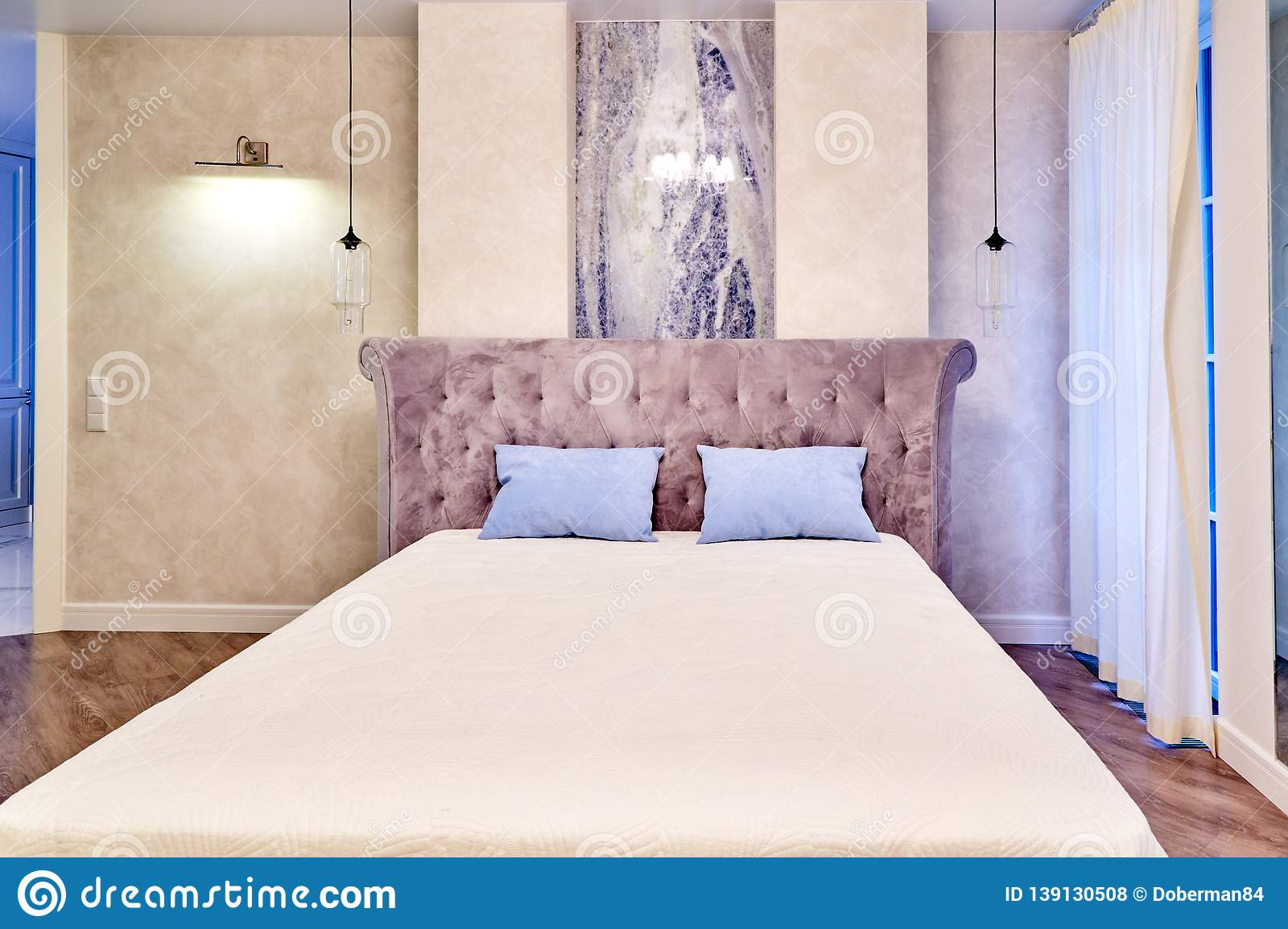 Big Comfortable Double Bed In Elegant Luxary Bedroom Stock Photo Image Of Color Exclusive 139130508