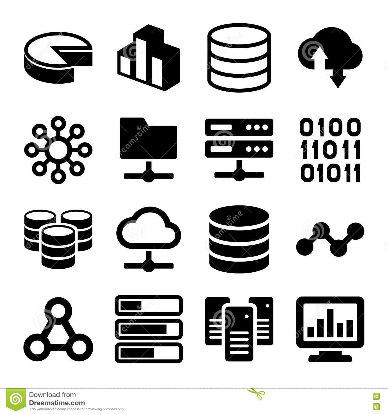 Big Dataytics Icons Set On White Background Stock