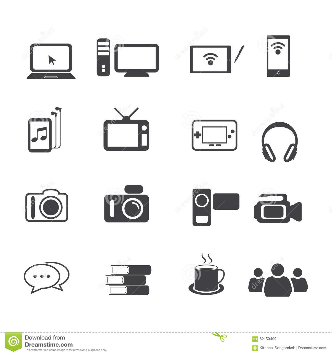 Big Data Icon Set Entertainment And Electronic Devices