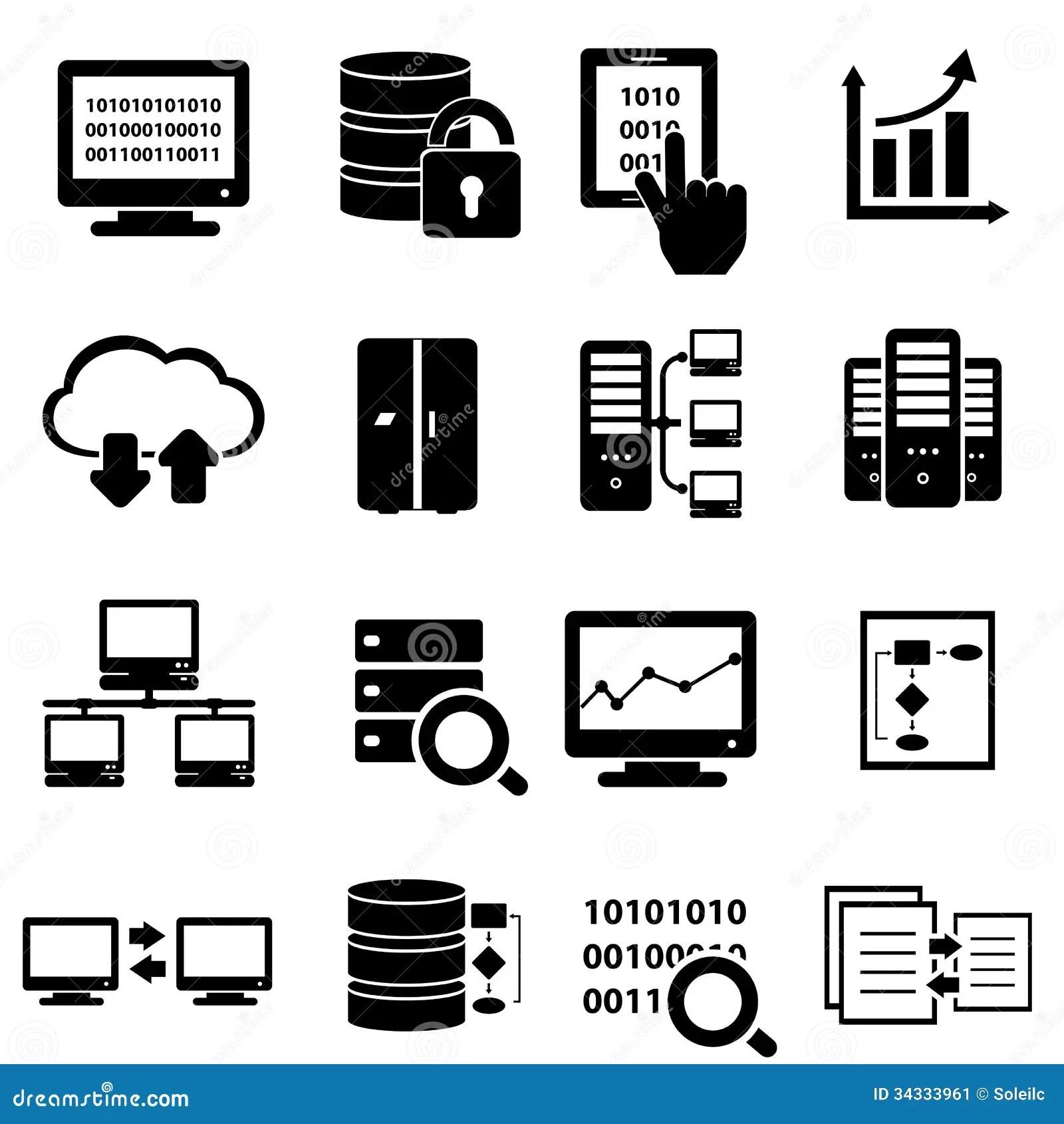 Big Data Icon Set Cartoon Vector