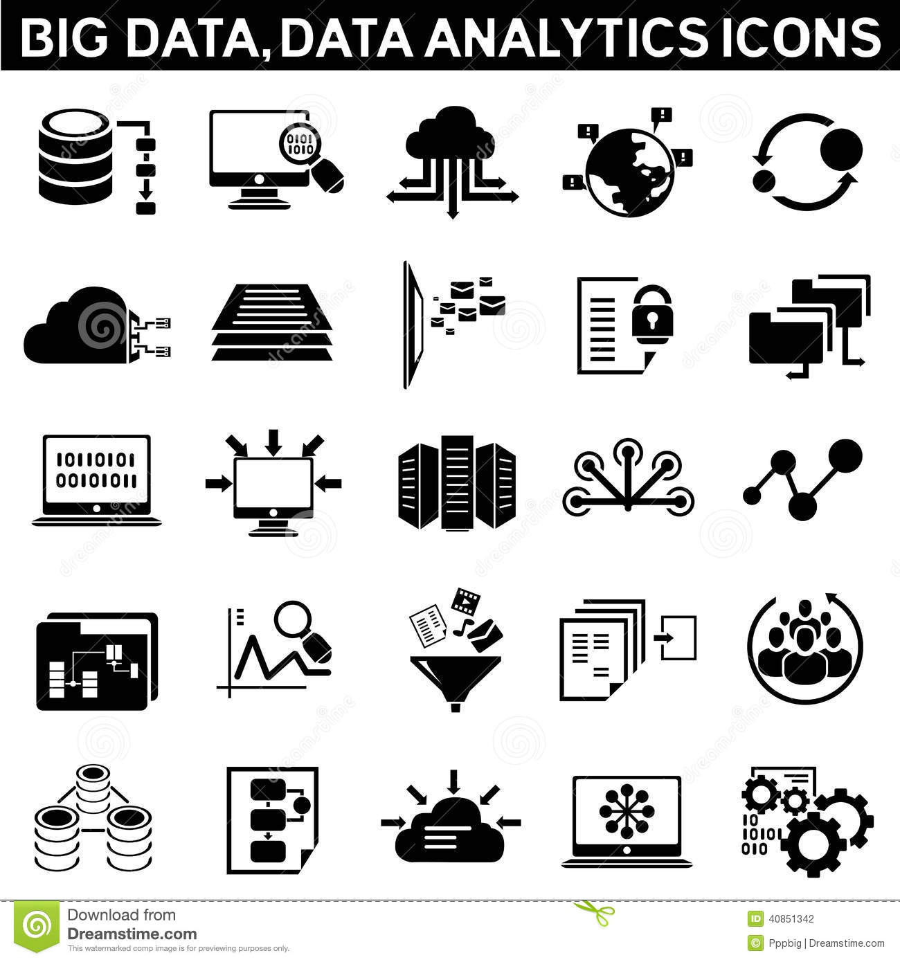 Big Data Icons Stock Illustration