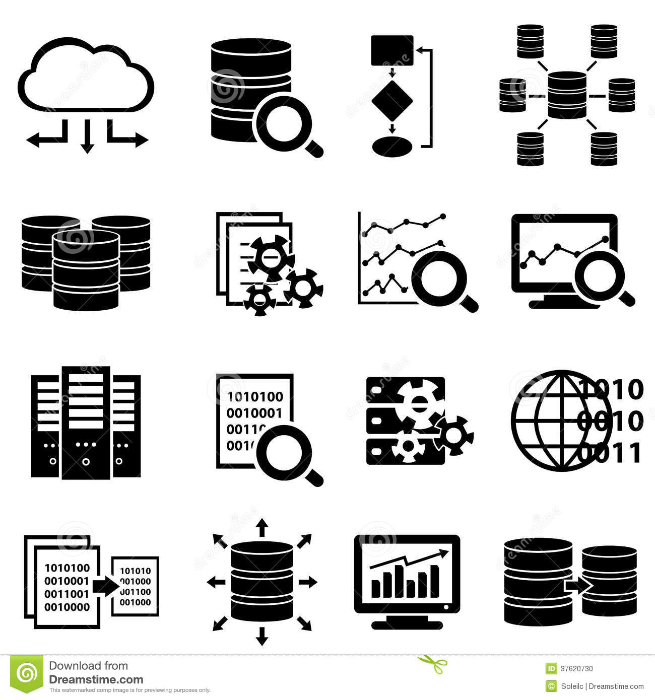 Big Data And Technology Icons Stock Vector