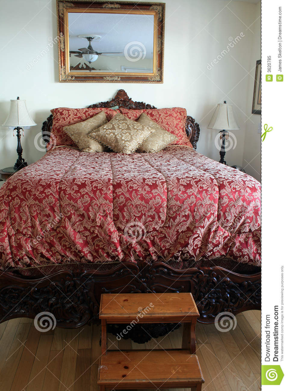 Big Fancy Bed Stock Image Image Of Pillows Three Wooden