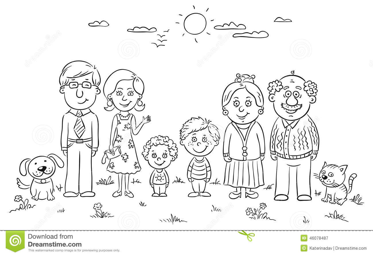 Big Happy Family Stock Vector Illustration Of View Black