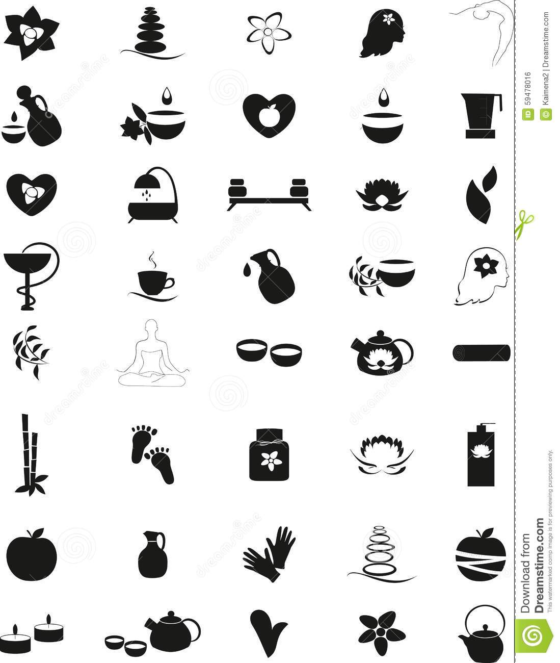 Collection Of Icons Representing Wellness Cartoon Vector