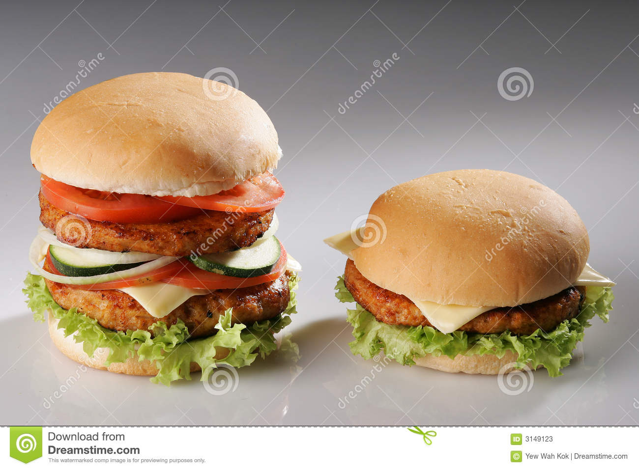 Big And Small Burger Stock Image Image Of Grill Single