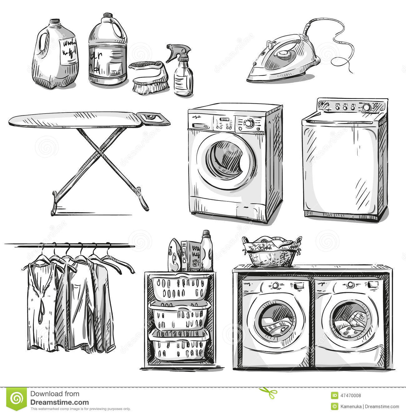 Big Wash Laundry Objects Vector Sketch Stock Vector