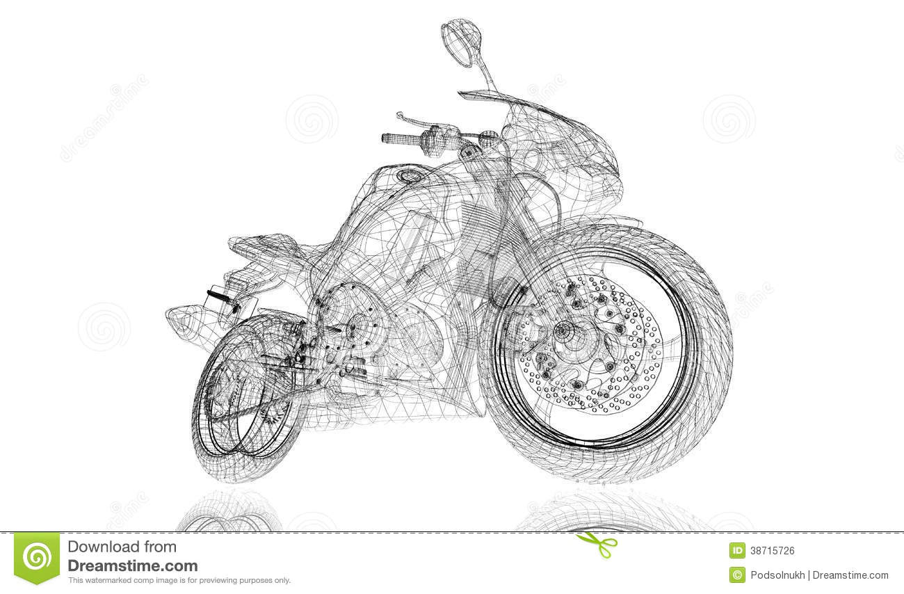 Bike Motorcycle 3d Model Stock Illustration