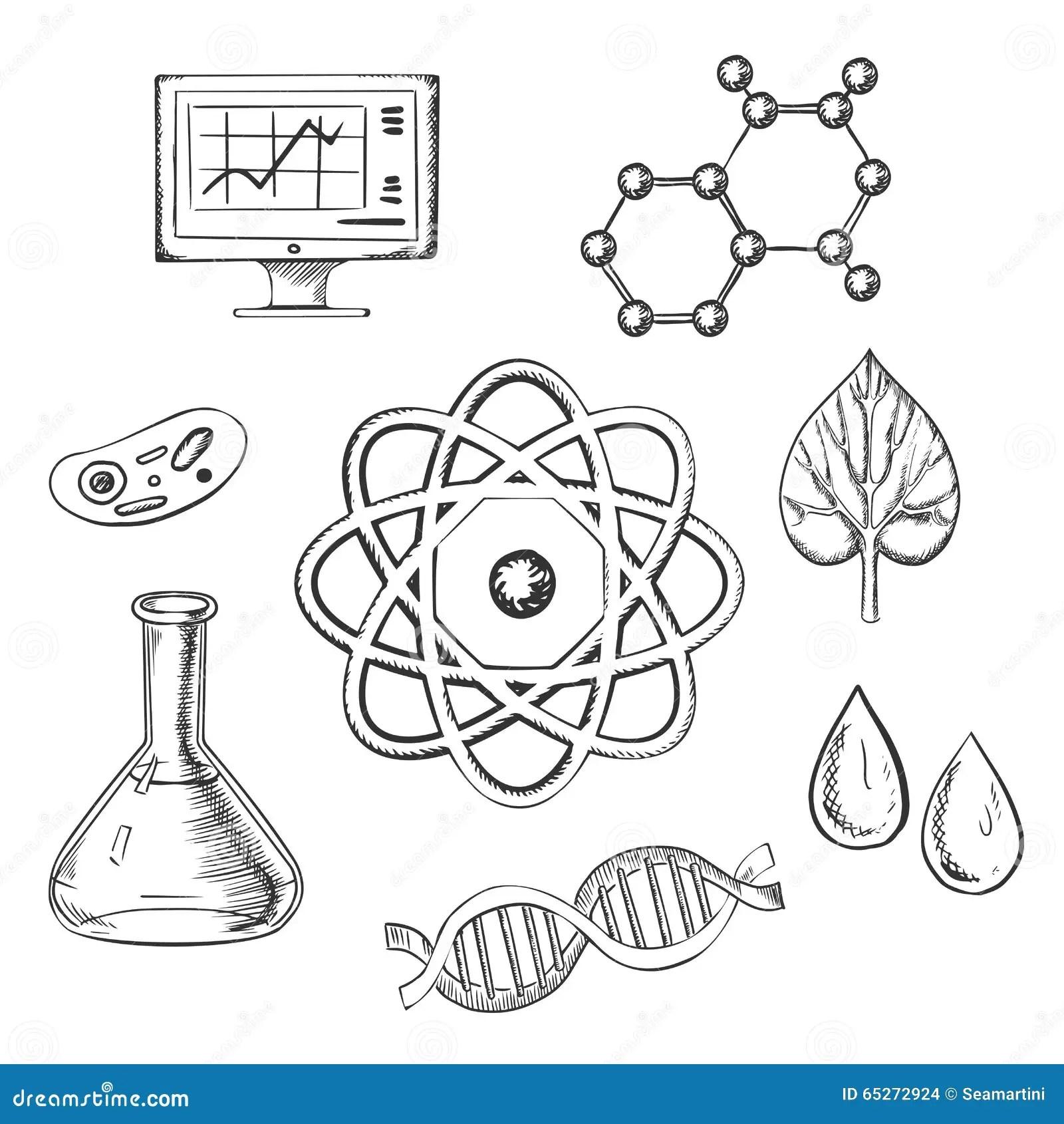 Biologi Och Kemi Skissar Symboler Vektor Illustrationer