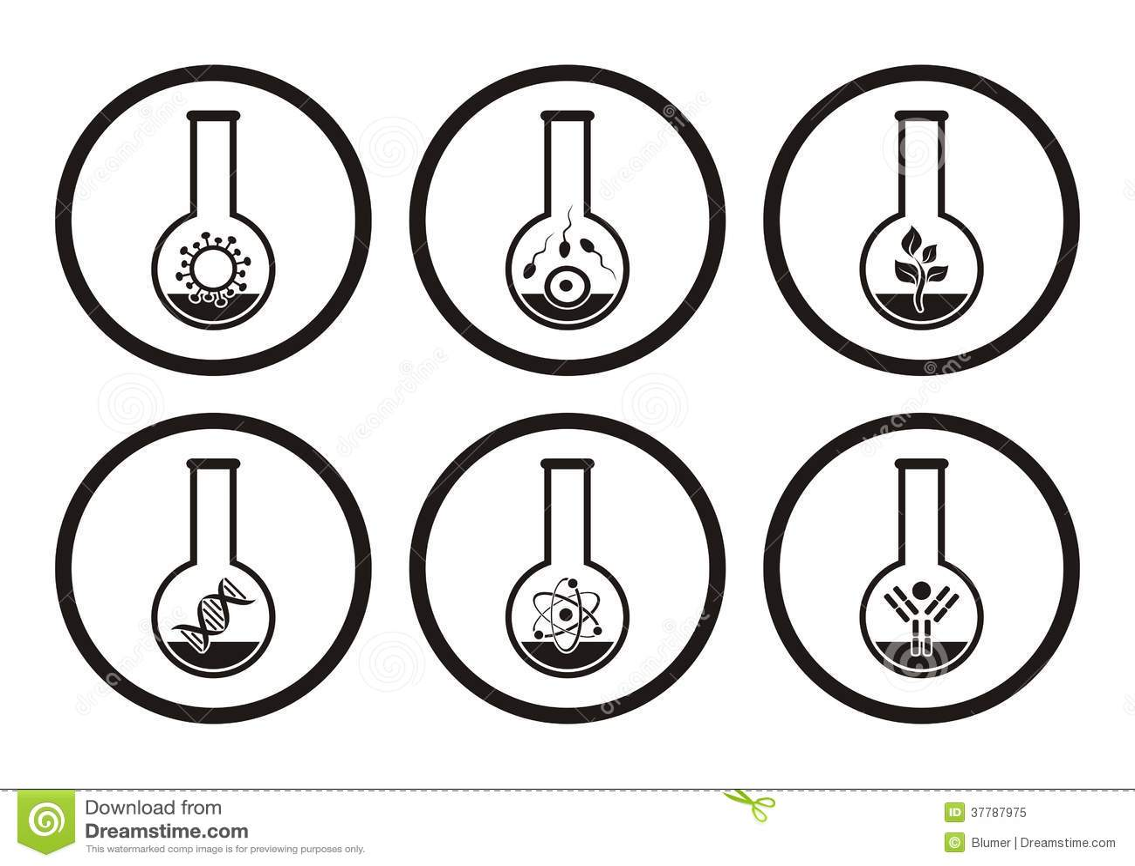 Biology Icons Stock Vector Illustration Of Biochemistry