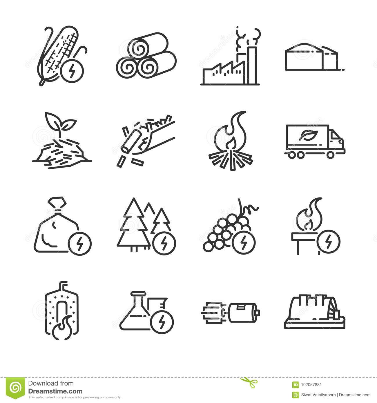 Alternative Energy Sources Icon Set Vector Illustration