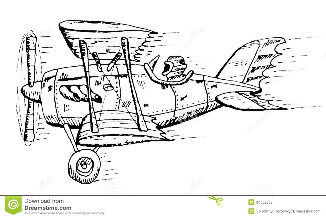 Biplane Cartoon Stock Vector