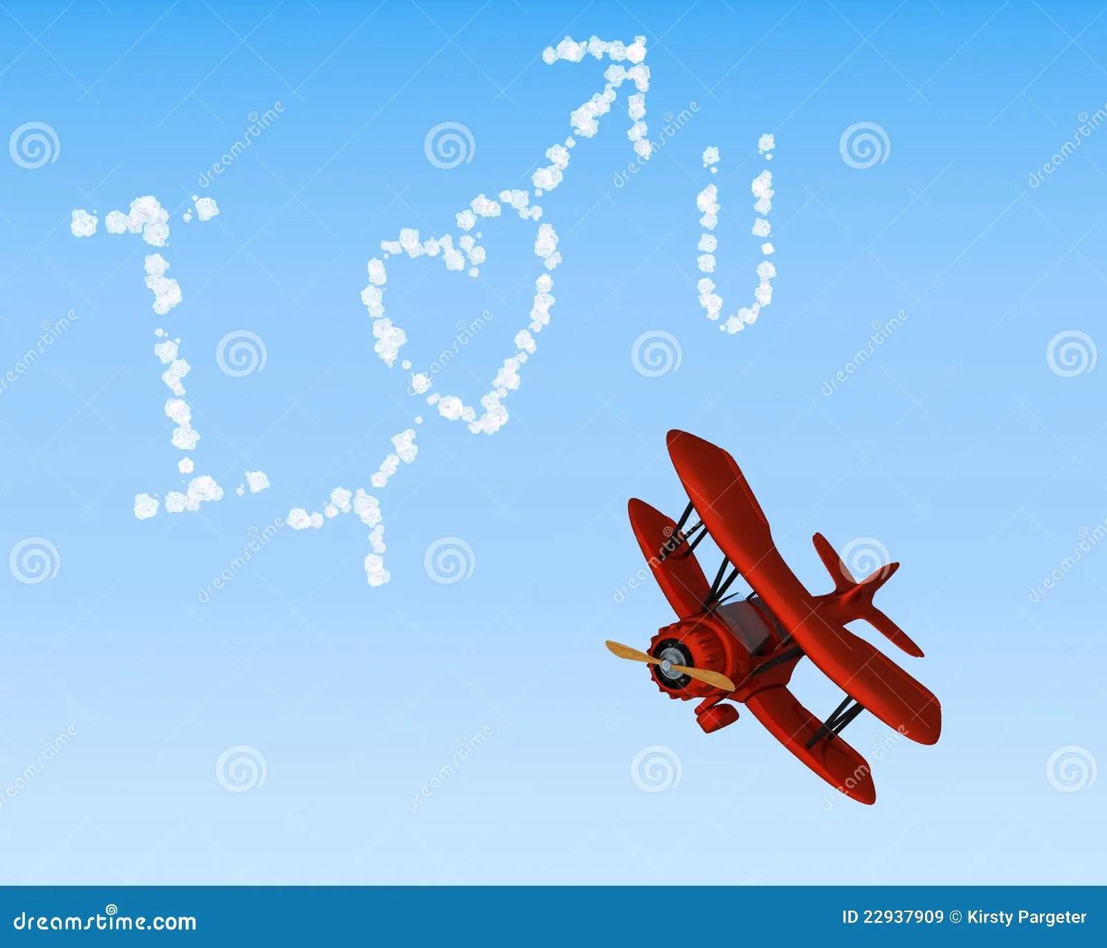 Biplane Sky Writing I Love You Stock Illustration