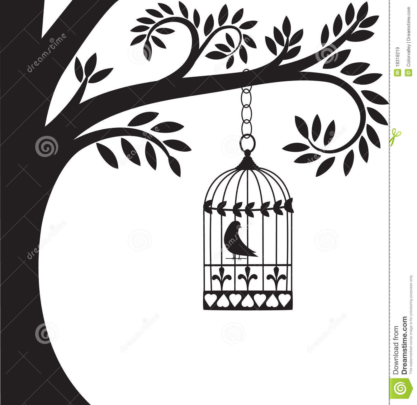 Bird Cage And Tree Royalty Free Stock Images