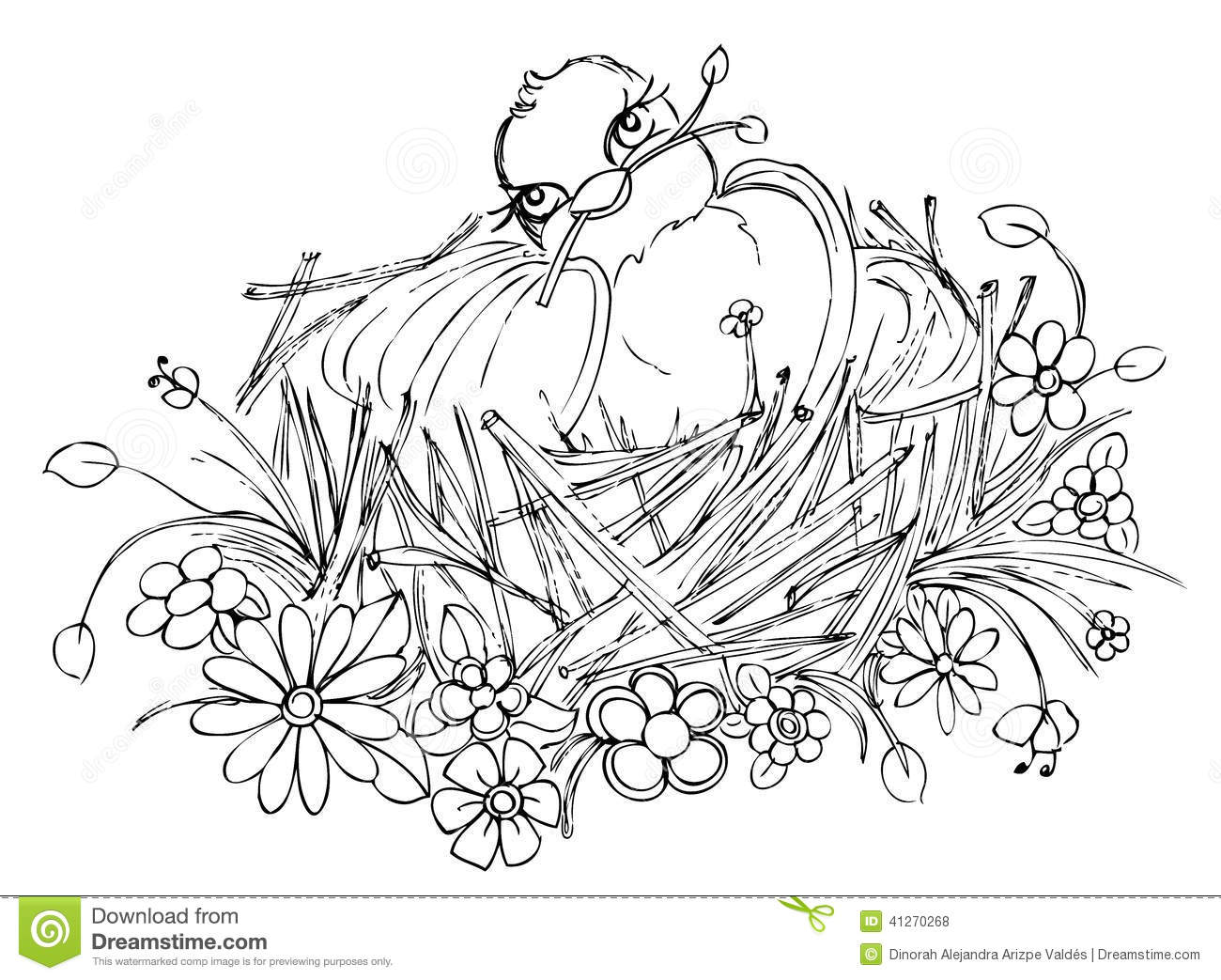 Bird On Nest Drawing Stock Illustration