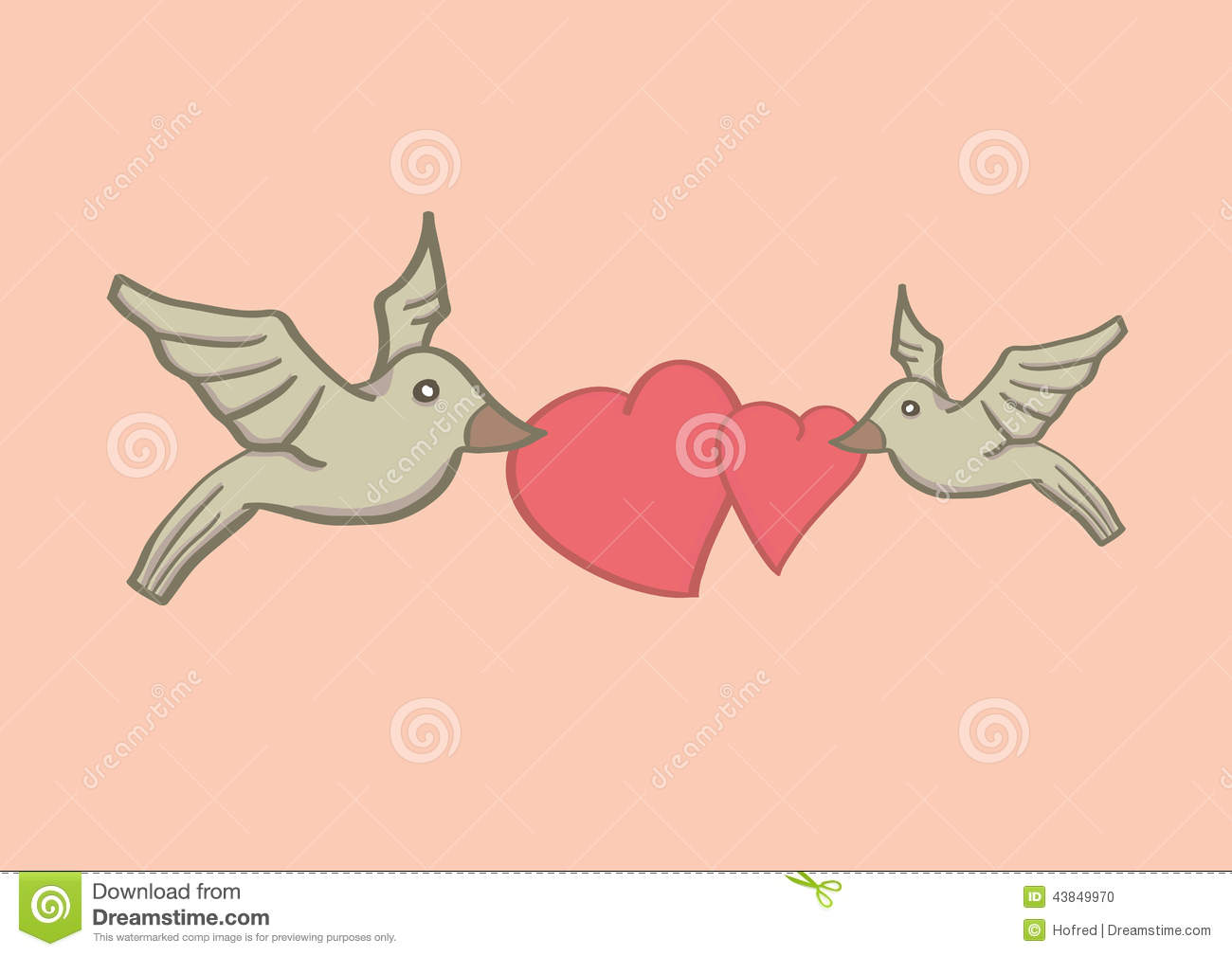 Birds With Heart Shapes For Valentines Day Stock Vector