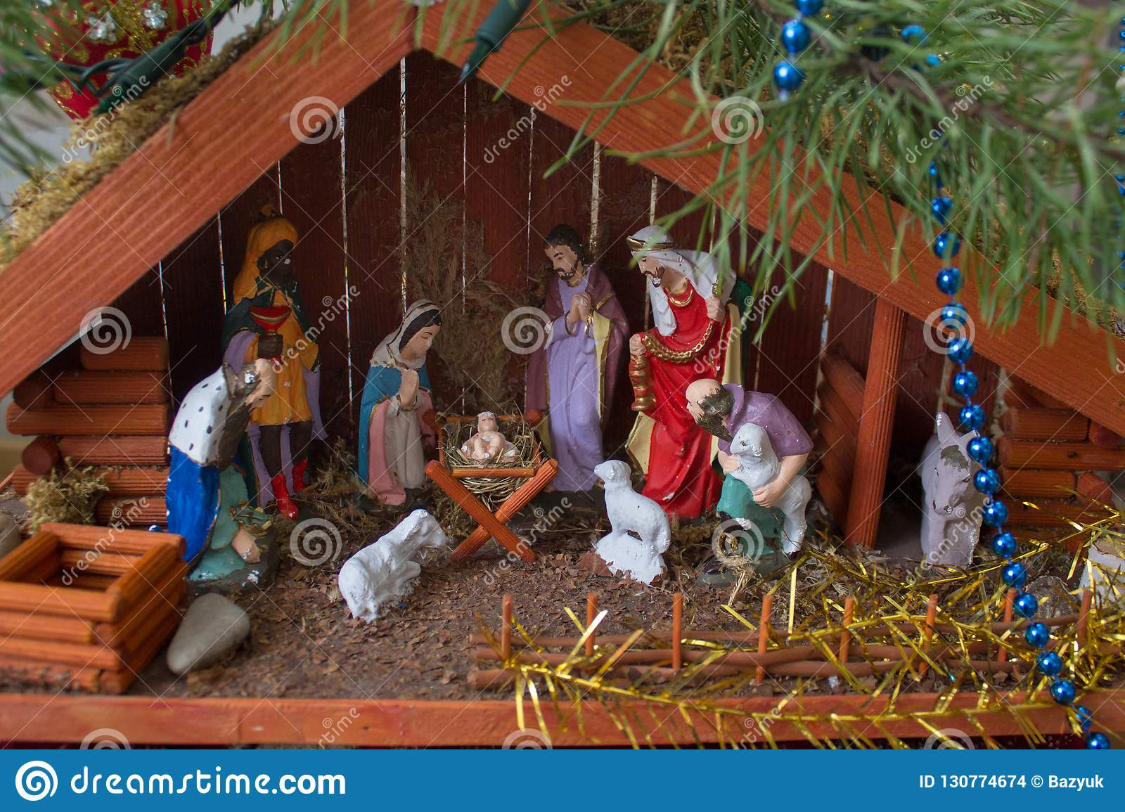 House Christmas Nativity The Birth Of Jesus In The Manger Between The Animals In A Wooden House Stock Photo Image Of Beautiful Celebrate 130774674