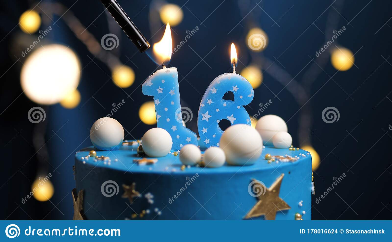 Birthday Cake Number 16 Stars Sky And Moon Concept Blue