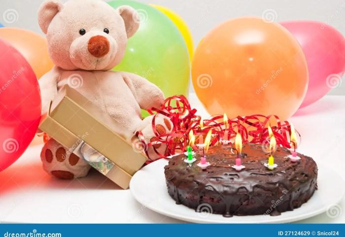 Birthday Cake And Teddy Bear Stock Image Image Of Bright