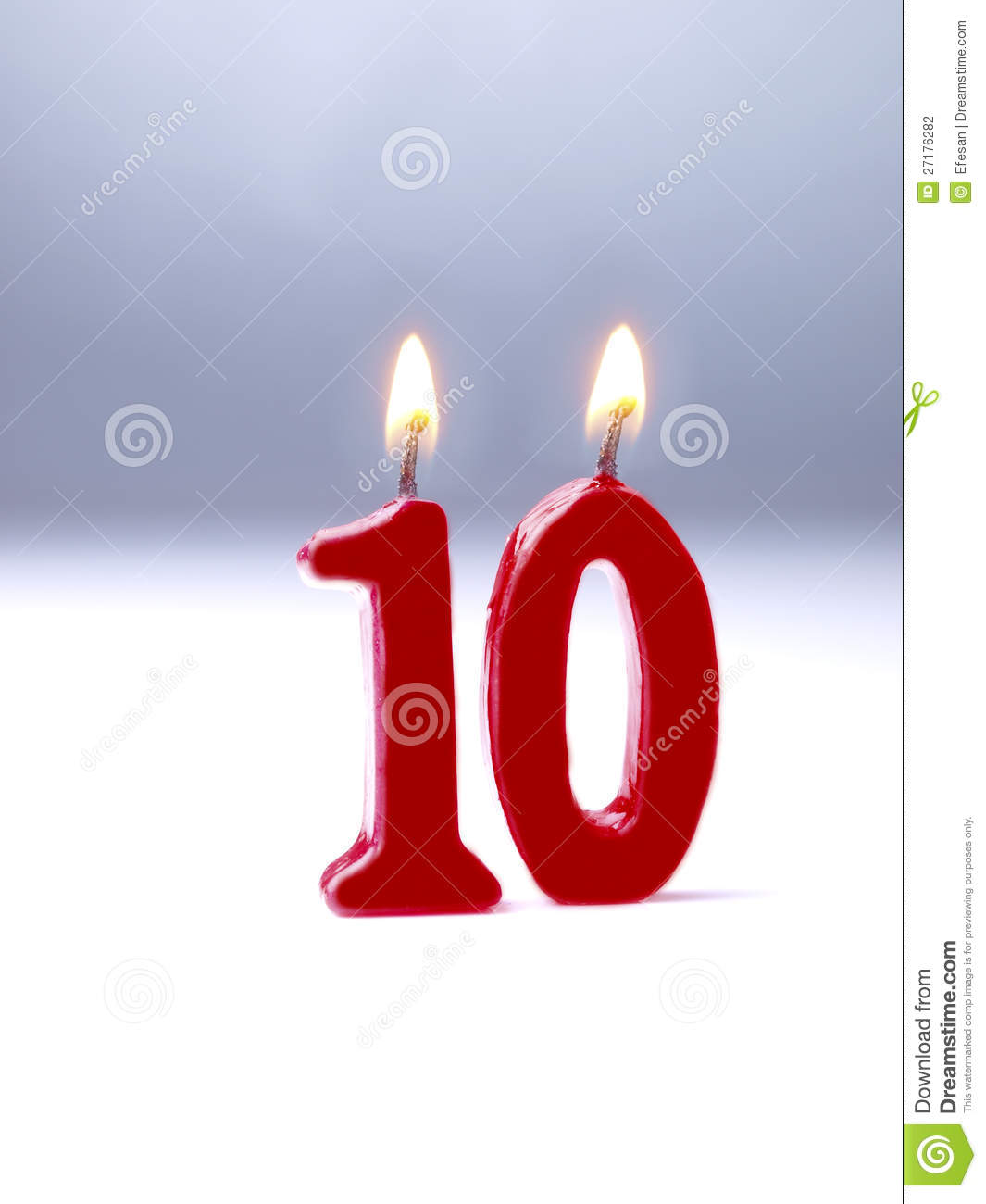 Birthday Candles Showing Nr 10 Stock Photography Image