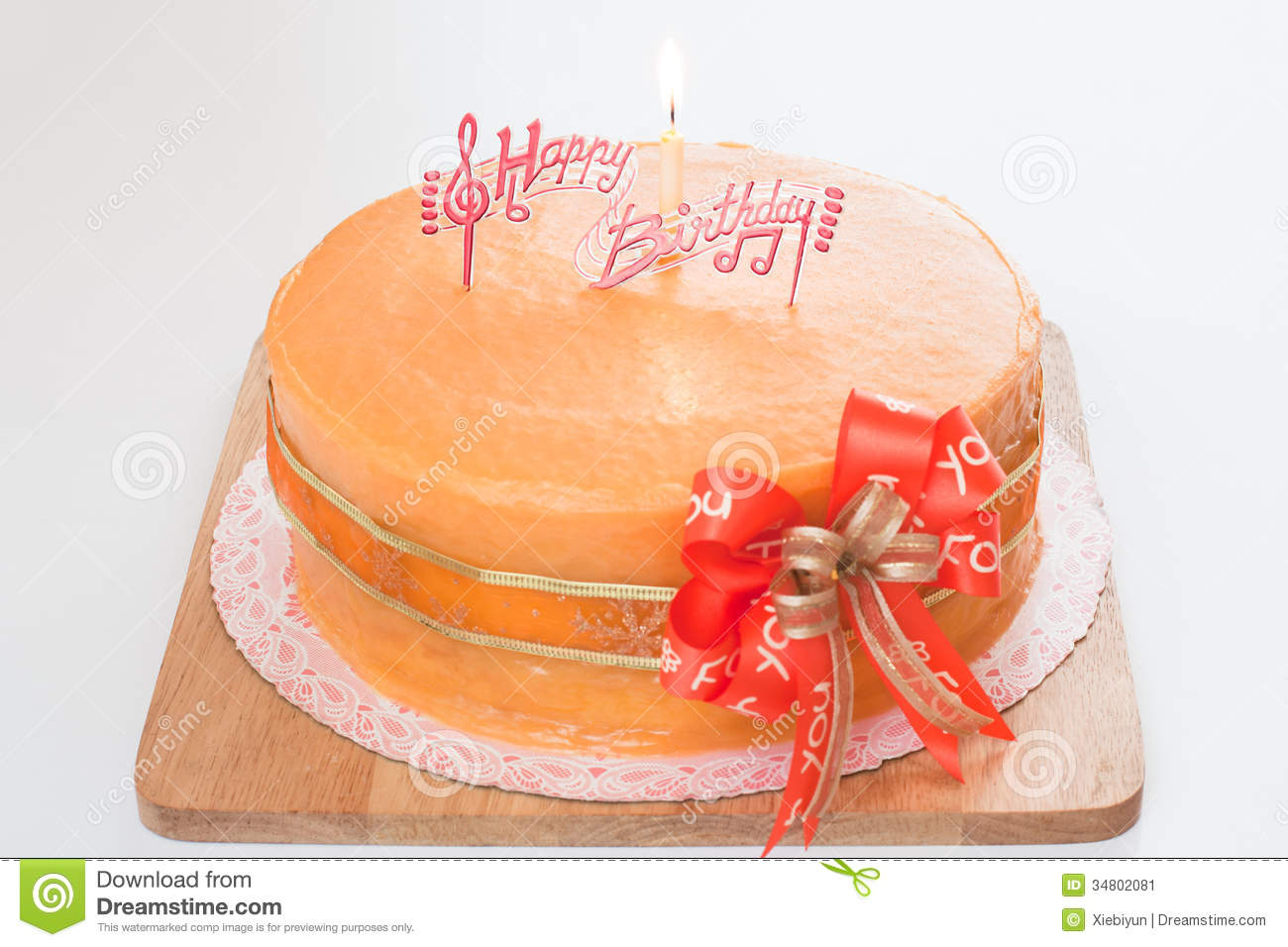 Birthday Orange Cake Stock Image Image 34802081