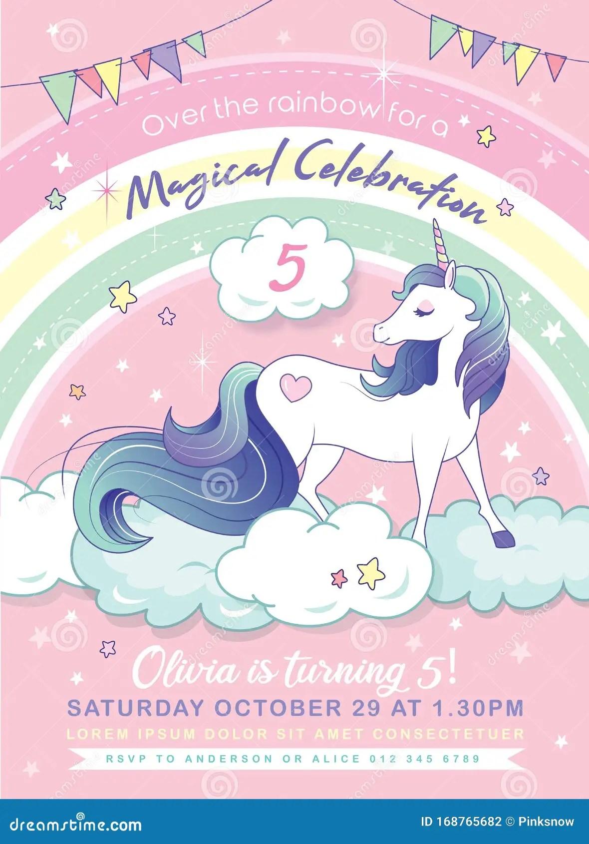 https www dreamstime com birthday party invitation card template magical unicorn rainbow background unicorn party invitation card image168765682