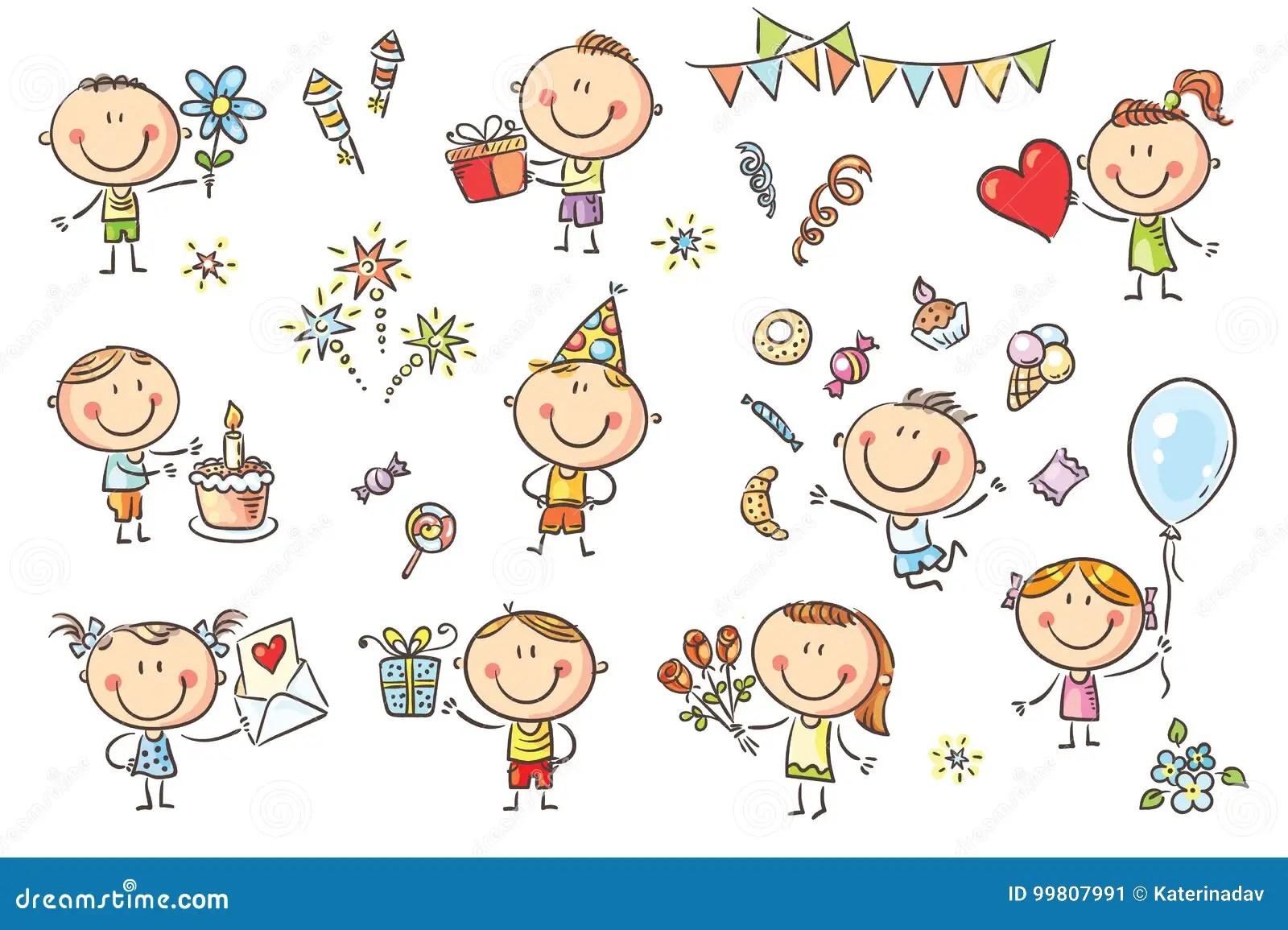 Birthday Party Kids Set Stock Vector Illustration Of